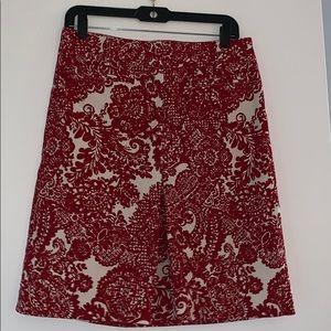 Red white midi skirt